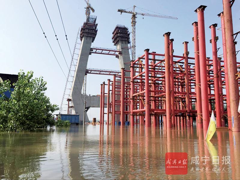 图文:嘉鱼长江大桥安全度过洪峰